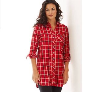J.Jill perfect red plaid double cloth long tunic